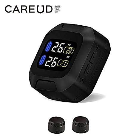 CAREUD Motorcycle Tire Pressure Monitoring System Wireless Motorcycle TPMS Tires Motor Auto Tyre Alarm System Waterproof with 2 External Sensors for ...