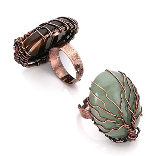 Top Plaza Handmade Retro Vintage Copper Wire Wrapped Tree of Life Oval Green Aventurine Tiger Eye Stone Healing Crystal Adjustable Ring Bronze Band Size 6 7 8