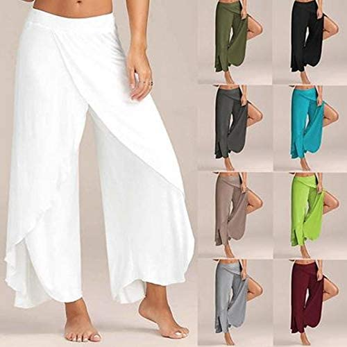 FAIYIWO Summer Chiffon Pants Women Wide Leg Side Split Trousers Female Casual Loose Sweat Pants FAIYIWO Wine red Size XXL