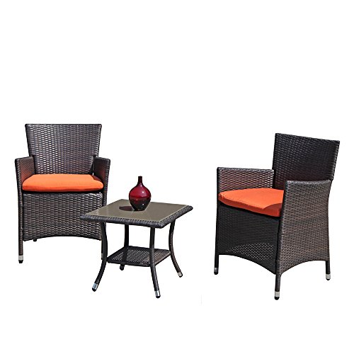 Super Patio 3 PC Patio Conversation Set, Rattan Sectional Furniture Set with Orange Seat Cushions, Coffee Glass Table