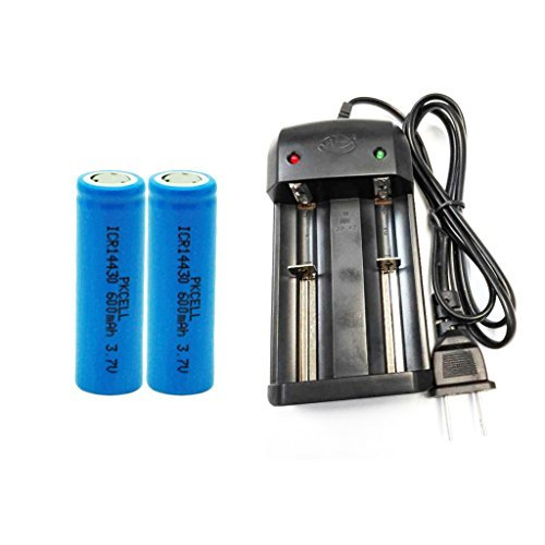 2Pcs rechargeable lithium ion battery 3.7v 600mah icr14430 with 1Pc 2Bay Smart Charger - Li Ion 600mah Photo Battery