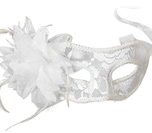 Yansanido Sexy Charm Lace Mask Women's Party Masquerade Eye Mask Party Ball Masquerade Fancy Dress for Halloween Night (style2 White)