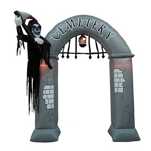 ghi Halloween Inflatable 8' Cemetery Archway w/Reaper Gate Keeper Airblown Decoration ()
