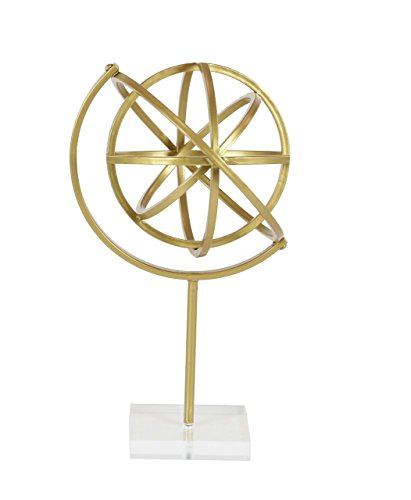 Deco 79 47358 Tin Armillary Sphere Sculpture with Acrylic Base Gold/Clear ()