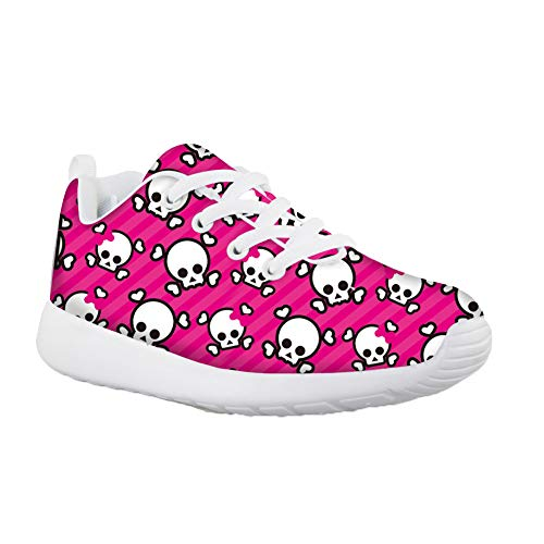 HUGS IDEA Sweety Style Girls Pink Casual Running Shoes Skull Breathable Lightweight Sneakers for Child