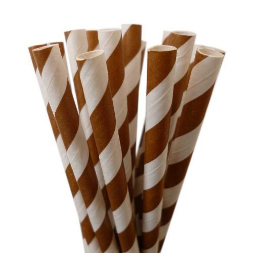 Brown Striped Paper Straws - Orange Candy Cane Striped Straws with Many Uses - 50 Count