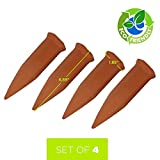 YUYUGO Set of 4pcs Plant Waterer Spikes - Vacation Watering Stakes, Works with Wine Bottles - Ceramic Terracotta Automatic Drip Irrigation System for Garden, Home, Indoor or Outdoor Plants
