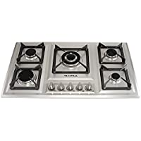 METAWELL 34' Stainless Steel 5 Burner Built-in Stoves NG Gas Hob Cooktops Cooker