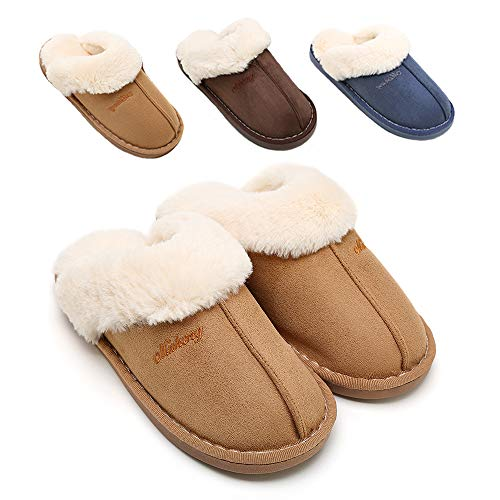 SOSUSHOE Womens Slipper, Fluffy Slip On House Slippers Clog Soft Indoor Outdoor Slipper for Winter, 7-8 B(M) US