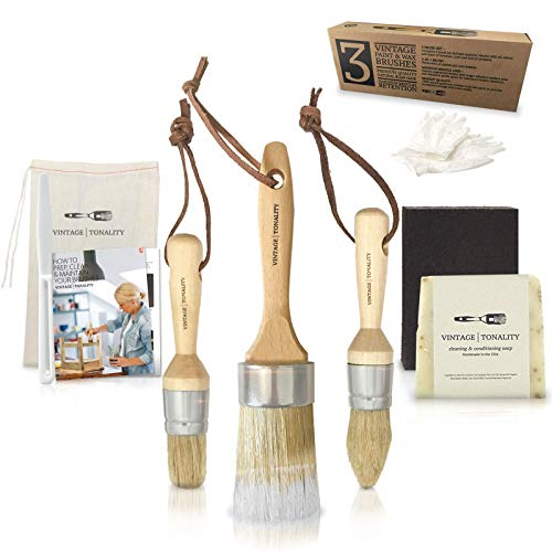 Pro Chalk amp Wax Brush Set for Painting Furniture 3 Paint Brushes Milk Paint Clear Wax Art Home Decor Large amp Small Natural Boar Hair Bristles Round Oval Flat Bristle Head by Vintage Tonality
