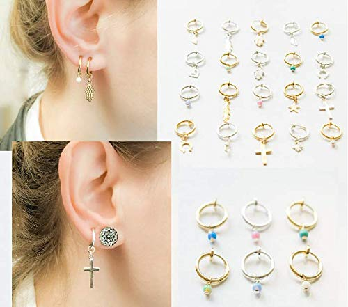 Clip On Hoop Earrings Dangle No Piercing Studs Invisible Clips Ear Cuffs Opal Charm ()