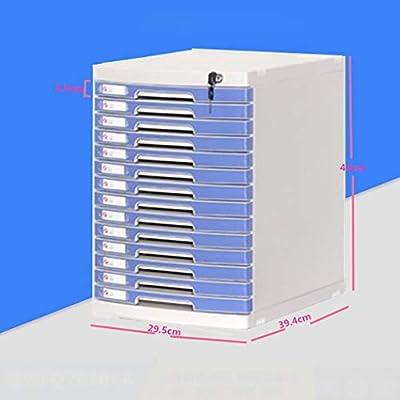 LXYWJJ Carpetas Carpeta Caja de archivador de Almacenamiento de plástico de 14 Capas de Acabado Horizontal con gabinete para Archivos de Cerradura (29.5 * 39.4 * 43 cm) Caja de Archivo: Amazon.es: Hogar