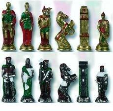 (Cambor Hand-Painted Metal Italian Made Hannibal Roman Chess Set)