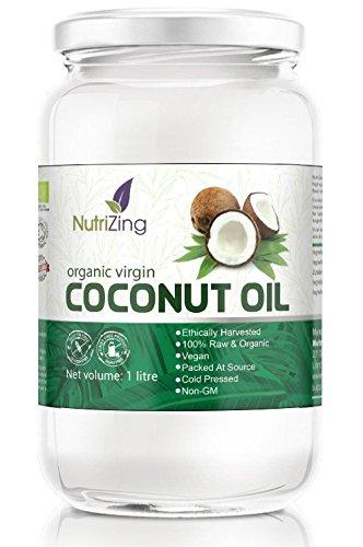 NutriZing Aceite de Coco Virgen Orgánico ~ 1 Litro ~ 100% Crudo y Sin Procesar ...