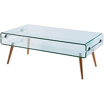 Versanora VNF-00027 Cassetto Stylish Beautiful Industrial Modern Glass Coffee Table