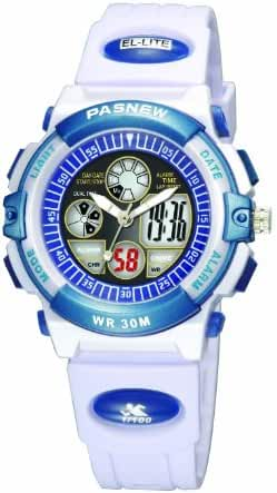30m Water-proof Digital-analog Boys Girls Sport Digital Watch with Alarm Stopwatch Chronograph (Child) 6 Colors (White)