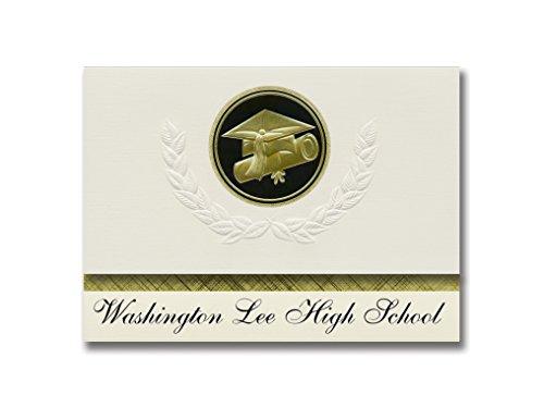 Signature Announcements Washington Lee High School (Arlington, VA) Graduation Announcements, Presidential style, Elite package of 25 Cap & Diploma Seal Black & Gold by Signature Announcements