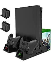 Cooling Stand for Xbox One/for Xbox One S/for Xbox One X Console and Controllers, Vertical Charging Stand Accessories with 2 Cooling Fans,600 mAh Batteries ,LED Indicators and Games Storage
