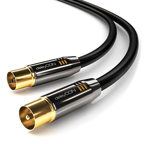 deleyCON [2m] TV Antennenkabel PREMIUM HDTV FullHD - Koaxialkabel - TV-Stecker zu TV-Buchse - Schwarz - METALL - vergoldet 100dB 75Ohm