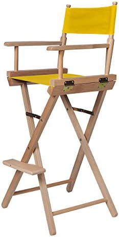 Trademark Innovations 30 Director s Chair – Bar Height – Light Wood – Fabric Color Choices, Yellow