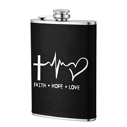 Flask For Liquor 8 Oz Leak Proof 304 Stainless Steel Leak Proof Slim Profile Faith Hope Love Christian Faith Bible Design Classic Leather Wrapped Personalized Flask - Brothers Liquor Christian