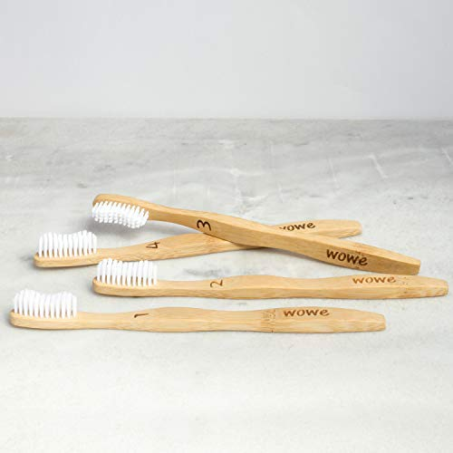 Wowe Natural Organic Bamboo Toothbrush Eco-Friendly Wood, Ergonomic, Soft BPA Free Bristles, Pack of 4 by Wowe (Image #5)