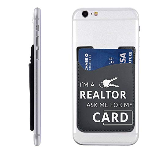 - Real Estate Realtor I'm A Realtor Ask Me Cell Phone Pockets Pouch Card Holder Wallet for Back of Phone Ultra-Slim 3M Stick On Phone