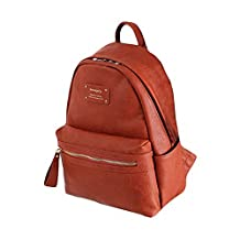 Leather Mini Office Backpack-Burnt orange