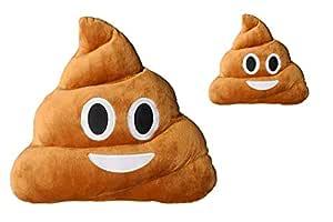 HAUFI® COJÍN Emoji Sonriente - Almohada EMOTICONOS Caca Whatsapp - Microfibra - 28 cm - La Verdadera Moda del Año. 2 Piezas, Producto Original