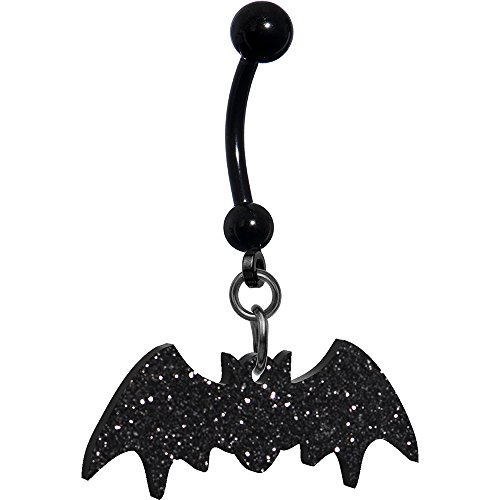 Body Candy Women's Glittery Black Bat Belly Button Ring -