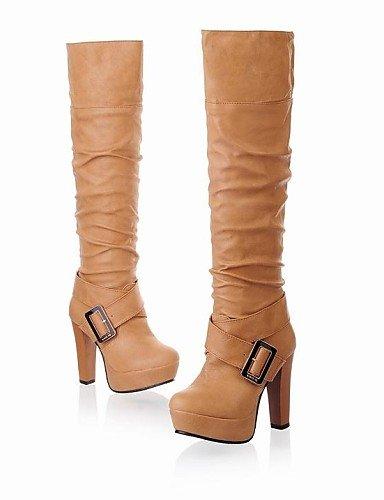 Zapatos Mujer Uk4 Cuero us8 Tacón Botas Eu36 Negro De Yellow Xzz Cn36 Punta Sintético Blanco Cn39 Amarillo Uk6 Robusto us6 Redonda Eu39 Black Casual SEdqxnxz