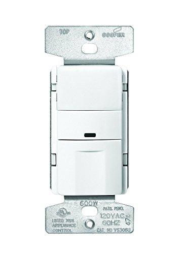 Eaton OS306U Motion Sensor Light Switch, 600 Watts, 1 or 2 s