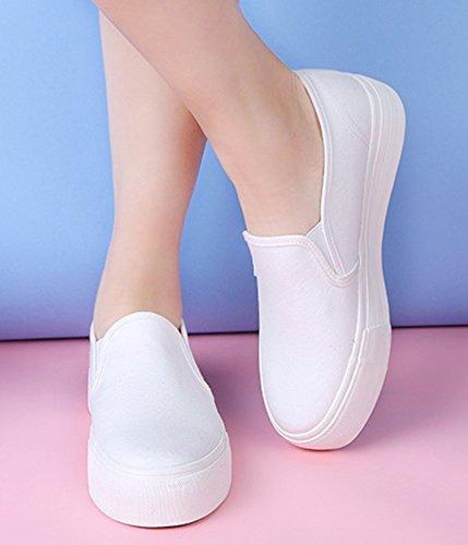 Aisun Womens Populaire Ronde Neus Dikke Zool Slip Op Platte Sneakers Platform Instappers Schoenen Wit