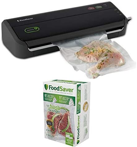 FoodSaver FM2000 Vacuum Sealer System with Starter Bag Roll Set and 8 11 Vacuum Heat-Seal Rolls