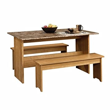 Swell Drop Leaf Trestle Table W Benches And Faux Granite Top Pabps2019 Chair Design Images Pabps2019Com
