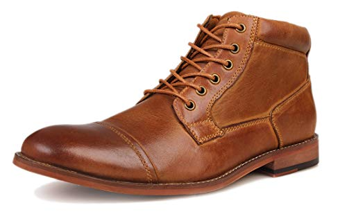 Kunsto Men's Genuine Leather Oxfords Dress Ankle Boots with Zipper Brown D Size 9.5