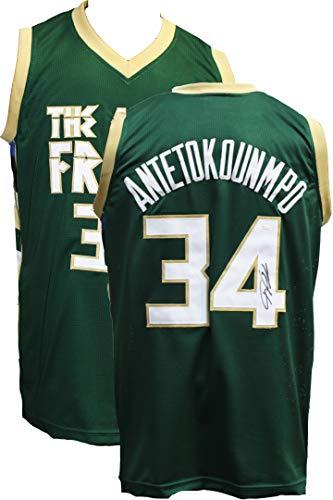 - Giannis Antetokounmpo Autographed Signed Greek Freak Basketball Jersey JSA COA Milwaukee Bucks