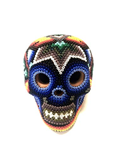 Serendipia Handmade Huichol Art Clay Skull Original Mexican Art. (Multicolor)