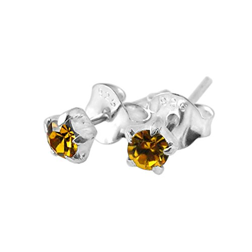 3MM Star Set Topaz Crystal NOVEMBER Birthstone 925 Sterling Silver Stud Earrings (Bullet Cartilage Earring compare prices)