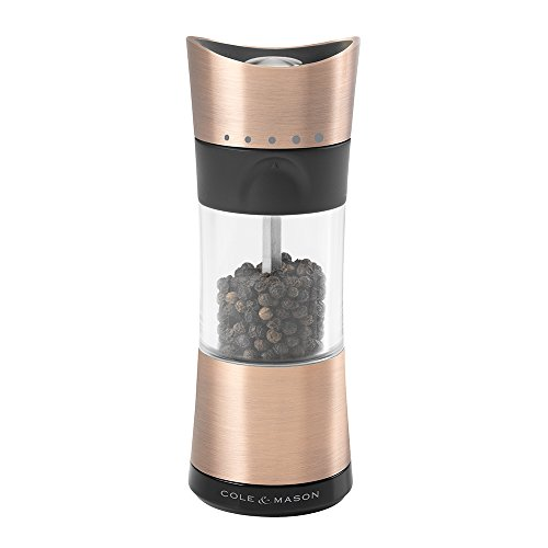 COLE & MASON Horsham Copper Pepper Grinder - Acrylic Upside Down Mill Includes Precision Mechanism and Premium Peppercorns (Cole And Mason Derwent Copper Salt And Pepper)