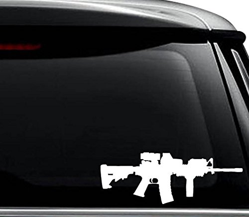 AR-15 M16 Assault Rifle Gun Decal Sticker For Use On Laptop, Helmet, Car, Truck, Motorcycle, Windows, Bumper, Wall, and Decor Size- [6 inch] / [15 cm] Wide / Color- Gloss White
