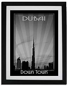 Dubai Skyline Down Town - Black And White F06-m (a4) - Framed