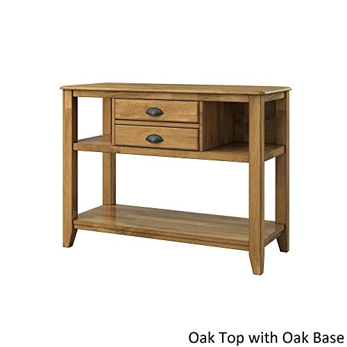 Inspire Q Eleanor Open Slf Two-Tone Wood Buffet Server by Classic Oak Wood Finish