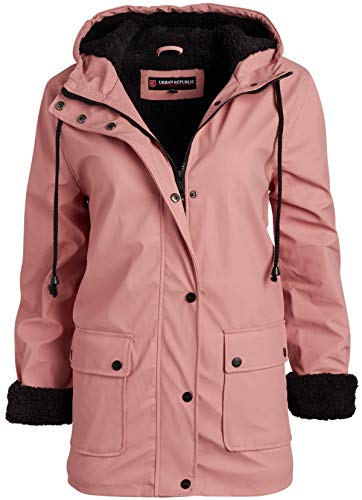 Urban Republic Ladies Hooded Vinyl Rain Jacket with Fur Lining, Rose Smoke, Medium