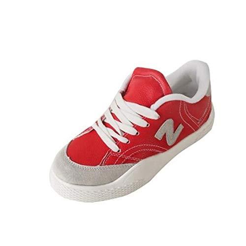 ZHZNVX Confortable para Mujer Zapatos de Piel de Cerdo Primavera/Verano Zapatillas Planas Heel Cerrado Dedo del pie Blanco/Negro / Rojo Red