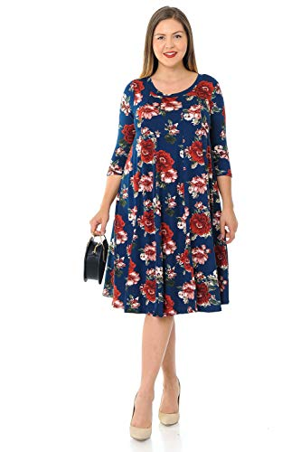 Pastel by Vivienne Women's A-Line Trapeze Midi Dress Plus Size X-Large Floral Navy Cinnamon ()