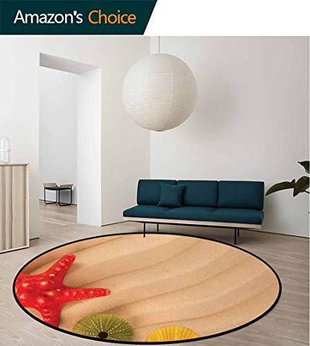 (Seashells Non-Slip Area Rug Pad Round,Sea Shells On Beach Caribbean Exotic Coastline Summer Starfish Protect Floors While Securing Rug Making Vacuuming Round-63 Inch,Sand Brown Green Yellow Red)