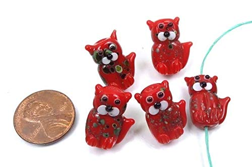 20mm Lampwork Handmade Beads Glass Standing Cat Beads - Christmas Color (5)