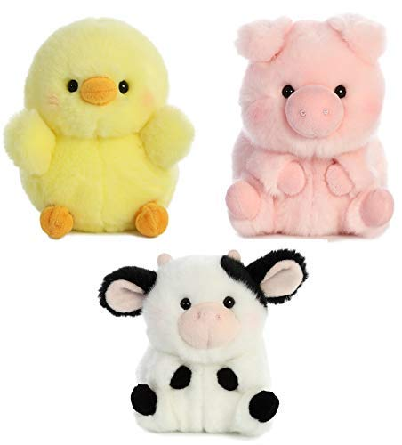 (Aurora World Pig, Cow and Chicken Stuffed Animal Plush Toy | Farm Animals Theme | Bundle of 3 Rolly Pet Items, 5 inches Each)