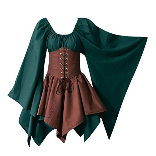 POQOQ Halloween Women Medieval Cosplay Costumes Gothic Retro Corset Dress(Green ()